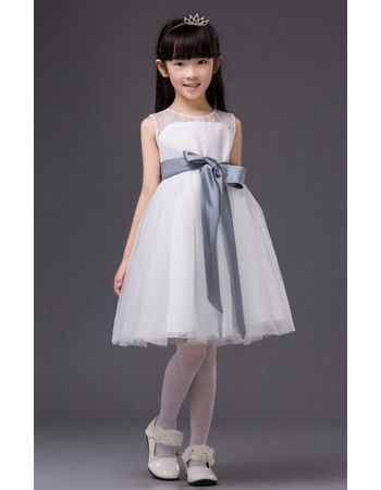 Inexpensive Simple Ball Gown Round Neck Short Lace Tulle Flower Girl Dresses with Sashes