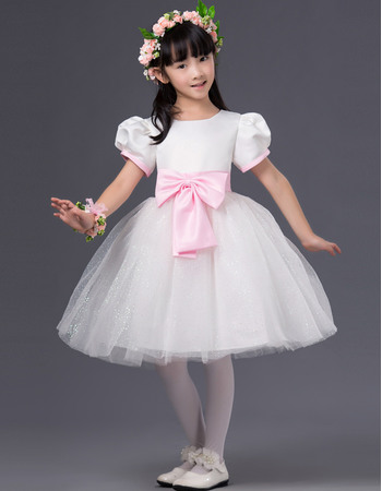 Simple Cute Ball Gown Bateau Flower Girl Dresses with Bubble Sleeves and Bows