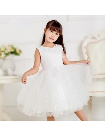 Discount Ball Gown Sweetheart Knee Length Tulle Sequin Flower Girl Communion Dress