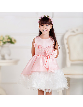 Inexpensive A-Line Round Neck Short Ruffle Skirt Little Girls Party Dresses with Layered Draped High-Low Skirt