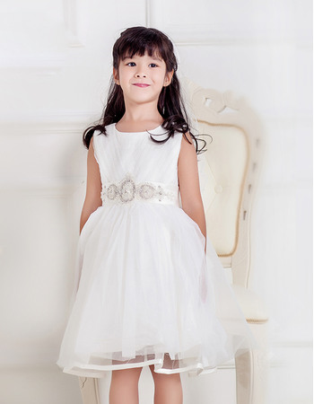 Affordable Ball Gown Round Knee Length Tulle Flower Girl Dresses with Ruching and Beaded Crystal