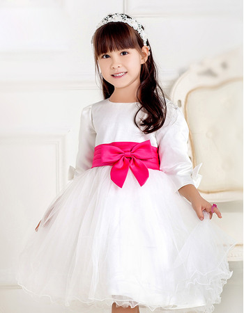 Affordable Ball Gown Beteau Satin Tulle Flower Girl Dresses with 3/4 Long Sleeves