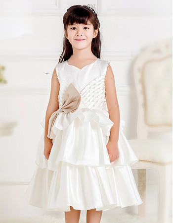 Lovely Custom Ball Gown Sweetheart Knee Length Layered Skirt Satin First Communion Dresses with Beaded