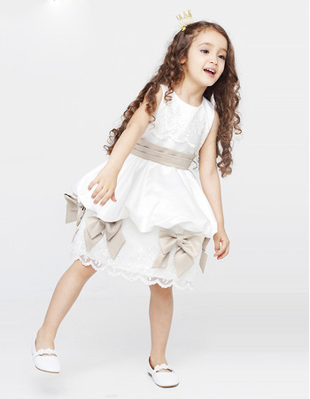 Discount Ball Gown Knee Length Round Neckline Satin Flower Girl Dresses with Sashes and Lace Appliques