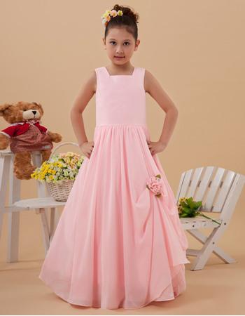 Inexpensive Simple A-Line Square Floor Length Chiffon Pink Full Length Long Flower Girl Dresses for Summer