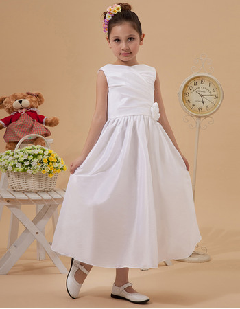 Discount A-line Bateau Taffeta Tea Length Taffeta White First Holy Communion Dresses with Ruching