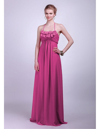 Simple Halter Empire Chiffon Floor Length Bridesmaid Dresses