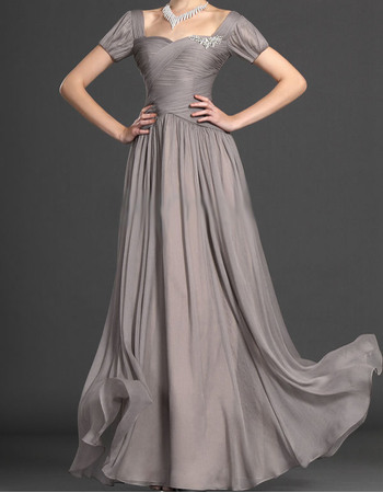 Gorgegous Sheath Sweetheart Long Chiffon Mother of the Bride Dresses with Short Sleeves