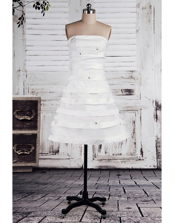 Discount Customized A-Line Strapless Pleated Short Satin Wedding Dresses