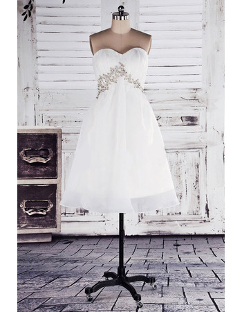 Discount Empire Sweetheart Short Beach Organza Wedding Dresses with Beaded Waist