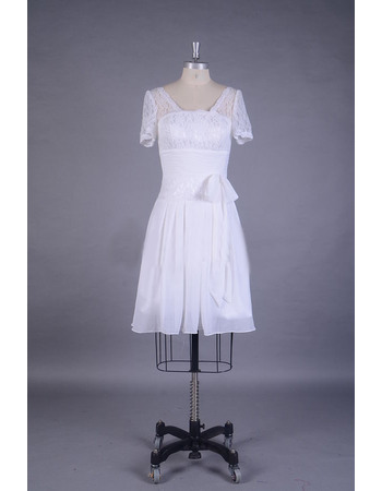 Pretty Sheath Short Reception Chiffon Wedding Dresses with Short Illusion Sleeves