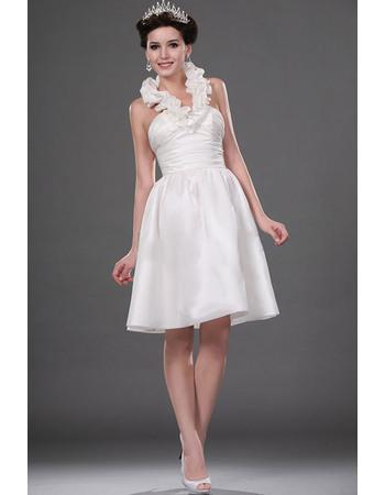 Beautiful Ruffled Halter-Neck Reception Satin Wedding Dresses
