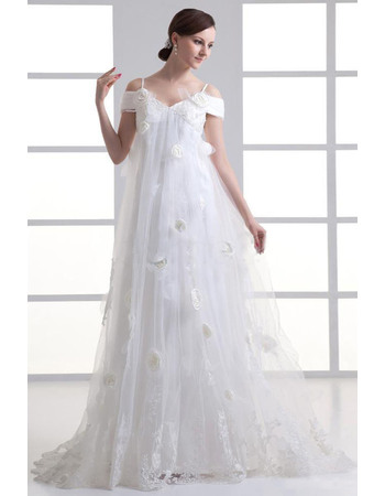 Fall Empire Spaghetti Straps Long Chiffon Tulle Wedding Dresses