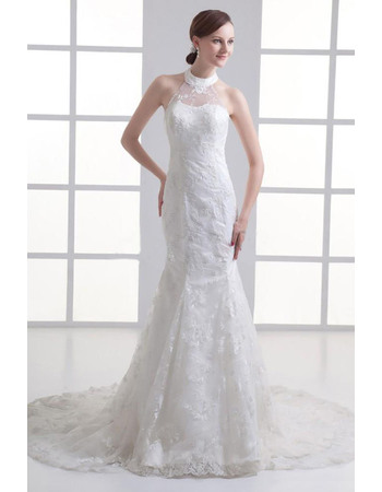 Junoesque Mermaid Beaded Halter Neck Court Train Lace Wedding Dresses