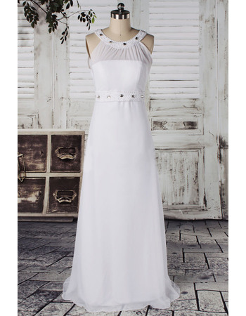 Exquisite Column Chiffon Wedding Dresses with Crystal Beaded Waist and Neck