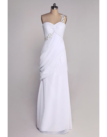 Vintage Column One Shoulder Floor Length Chiffon Wedding Dresses