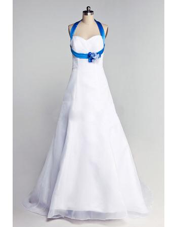 Inexpensive A-Line Blue Halter Floor Length Satin Wedding Dresses