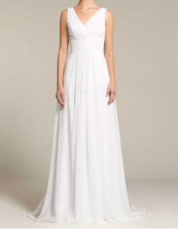 Affordable Smiple Sheath V-Neck Floor Length Chiffon Wedding Dresses