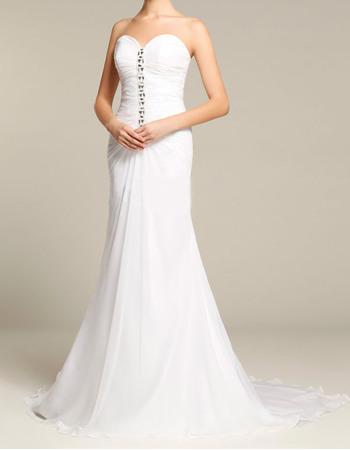 Sexy Sheath Sweetheart Brush Train Chiffon Wedding Dresses with Rhinestone Detail