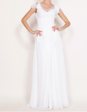 Classic Sheath V-Neck Full Length Chiffon Wedding Dresses with Ruffled Cap Sleeves