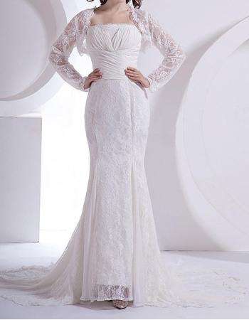 Custom Mermaid Floor Length Lace Wedding Dresses with Lace Jackets