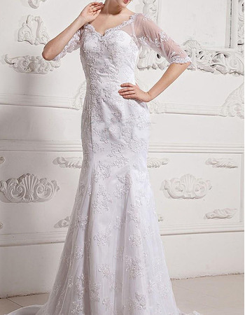 Discount V-Neck Court Train Lace Wedding Dresses with Half Illusion Sleeves