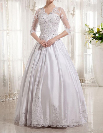 Vintage Ball Gown Floor Length Wedding Dresses with Half Sleeves
