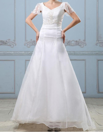 Beautiful Beading Appliques A-Line Scoop Back Organza Wedding Dresses with Cap Sleeves