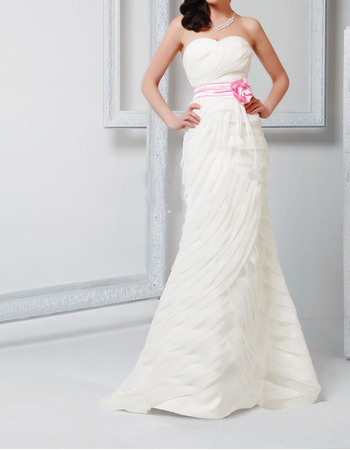 Stylish Sheath Sweetheart Layered Chiffon Wedding Dresses with Sashes