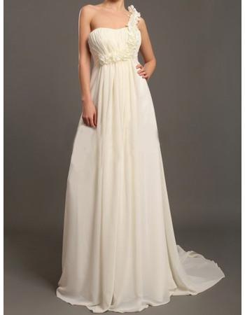 Perfect Empire Ruffled One Shoulder Floor Length Pleated Chiffon Wedding Dresses