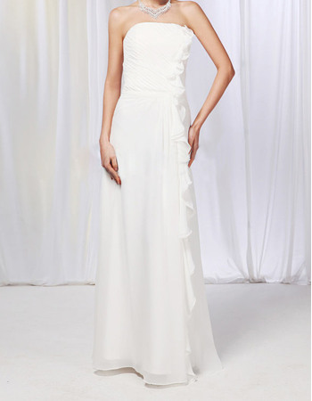 Simple Column Strapless Chiffon Wedding Dresses with Cascading Ruffle Along Side