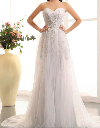 Alluring A-Line Sweetheart Tulle Wedding Dresses with Beading Appliques