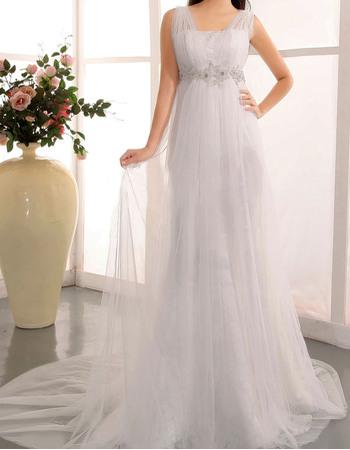 Elegant Sheath Straps Sweep Train Tulle Satin Wedding Dresses