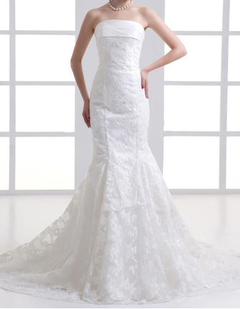 Beauterful Mermaid & Trumpet Strapless Court Train Floral Lace Wedding Dresses with Bow Back