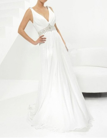 Sexy Sheath Court Train Chiffon Wedding Dresses with Beaded Waist and Plunging V-back