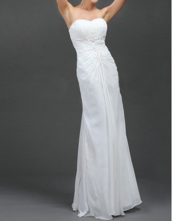 Affordable Sheath Beaded Sweetheart Chiffon Wedding Dresses with Ruched Bodice