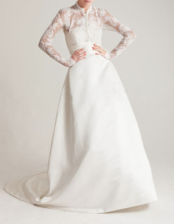 Discount High-Neck Chapel Train Satin Wedding Dresses with Long Lace Sleeves and Bow Detail