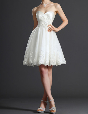 Sweetheart Taffeta Tulle Short Summer Wedding Dresses/ Elegant Beaded Applique Reception Bride Gowns
