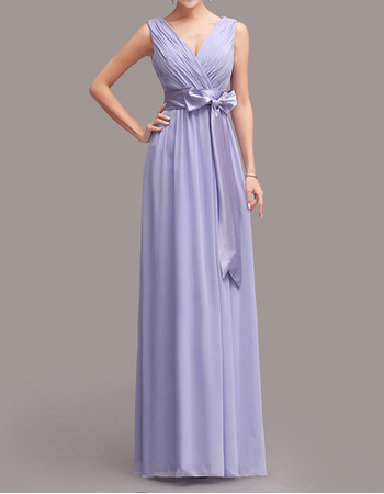 Elegant Column/ Sheath V-Neck Sweep Train Chiffon Bridesmaid Dresses with Ribbons