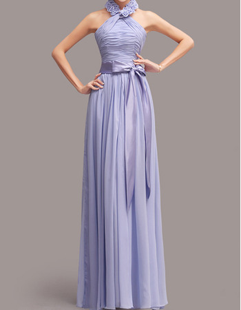 Lovely Halter Long Pleated Chiffon Bridesmaid Dresses with 3D-flowers Neck