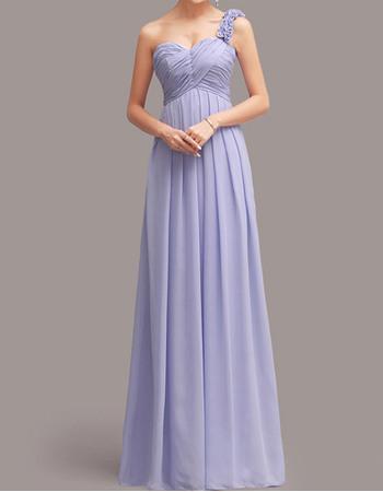 Stylish Ruffled One Shoulder Sweetheart Sweep Train Chiffon Bridesmaid Dresses