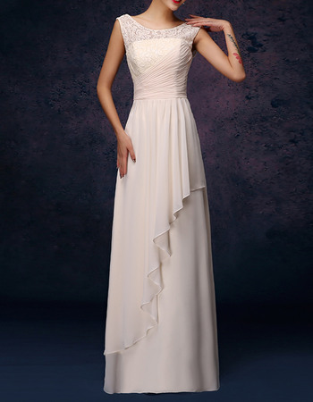 Elegant Column Round-Neck Long Pleated Chiffon Bridesmaid Dresses with Front Cascade