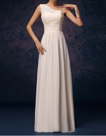 Elegant One Shoulder Long Lace Bodice Chiffon Bridesmaid Dresses with Draped Skirt