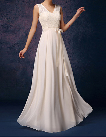 Elegant V-Neck Long Lace Chiffon Pleated Bridesmaid Dresses with Ribbons
