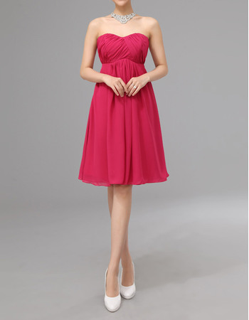 Elegant Simple Empire Sweetheart Knee Length Ruched Chiffon Bridesmaid Dresses Under $100