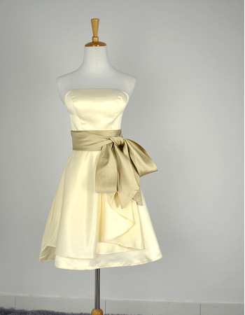 Simple Strapless Sleeveless Short Satin Bridesmaid Dresses with Sashes