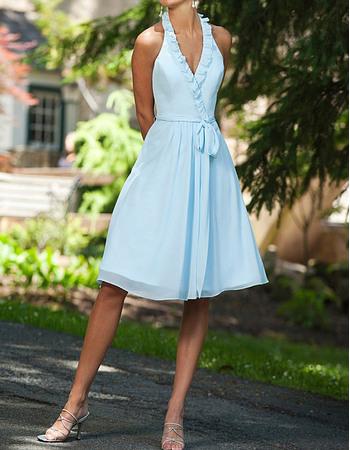 Discount Ruffled Halter V-Neck Knee Length Chiffon Bridesmaid Dresses with Sash