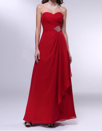 Elegant A-Line Sweetheart Long Chiffon Evening Dresses with Side Cascade Detail