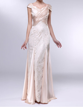 Discount Sheath Sweetheart Cap Sleeves Long Lace and Elastic Woven Satin Evening Dresses with Godet hem
