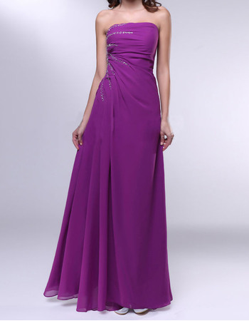 Stylish A-Line Strapless Floor Length Beaded Rushed Chiffon Evening Dresses with Side Slit
